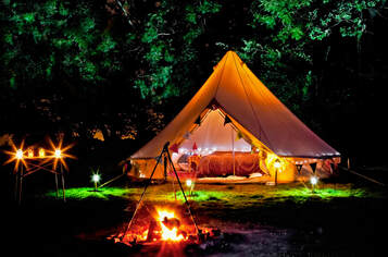 Glamping and Bell Tent Hire with Fire Pit and Lighting Warwickshire and Oxfordshire